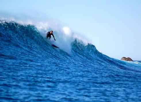 Serge surfing Todos Santos Island in Baja.