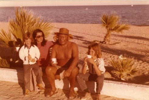 That me on the right with my brother Nicky, my mother, and my Uncle Emile in San Felipe either in 1972 or 1973.
