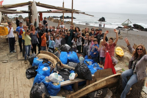 Beach cleanup in Chile with Save the Waves.