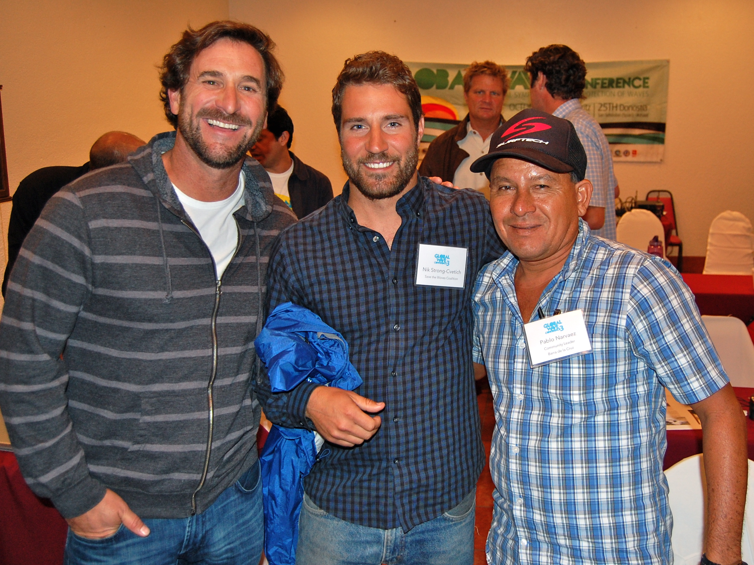Will Henry and Nik from Save the Waves with Pablo Narvaez from Barra de la Cruz, Mexico.