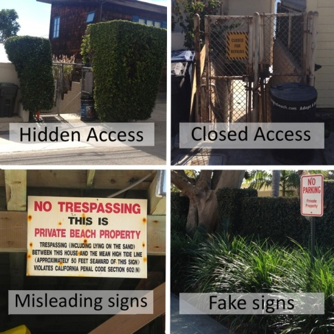 Malibu beach access signs designed to mislead the public.