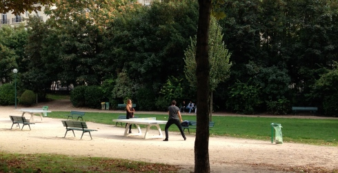 I love these public cement ping pong tables in a park.