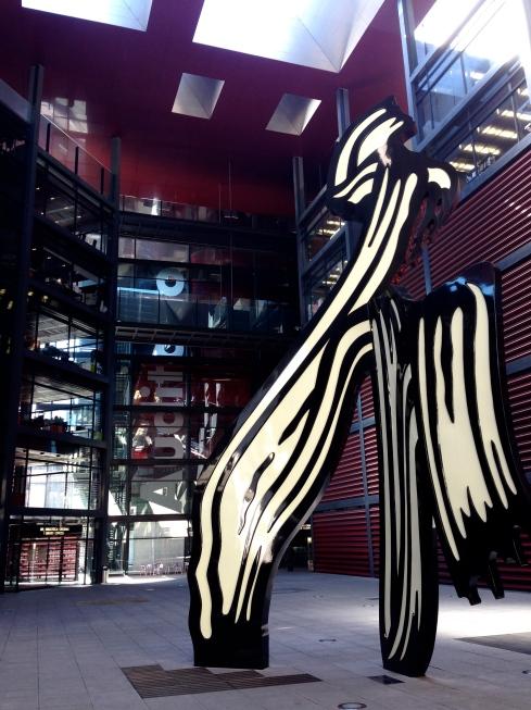 Roy Lichtenstein's Brushstroke in the courtyard of the Reina Sofia.