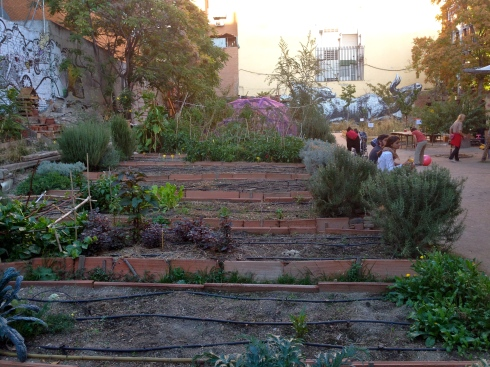 In the middle of Lavapies is a former empty lot turned into a Public Plaza by the community.