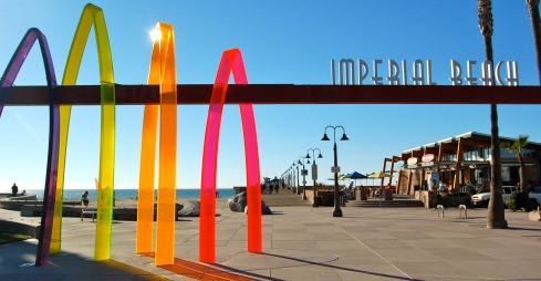The Imperial Beach Pier Plaza and a public art project called Surfhenge.