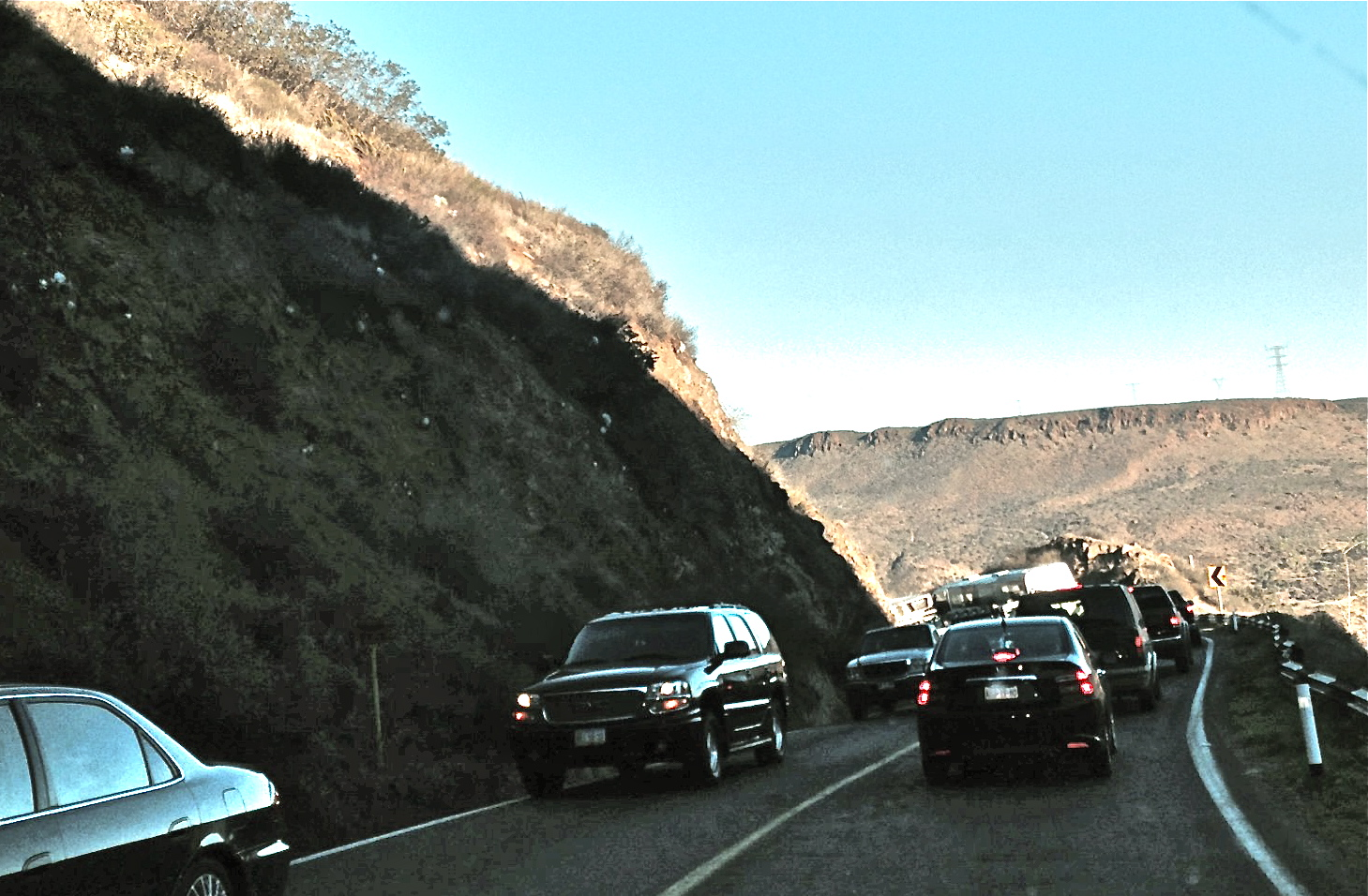 Traffic backing up on the start of the descent just south of La Mision