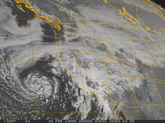 A satellite image of the unusual storm.