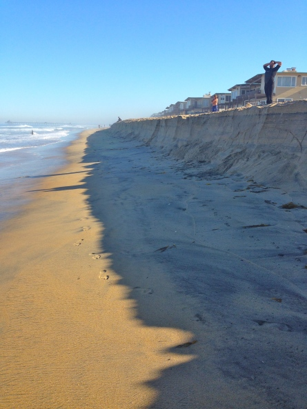 Berm caused by coastal erosion on August 27, 2014 at the south end of Imperial beach looking northward.