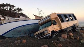 Surf damage on Catalina Islands.