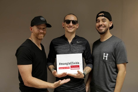 Dave Farrell, Chester Bennington and Mike Shinoda of Lincoln Park.